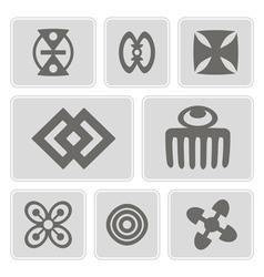 Monochrome icons with adinkra symbols vector