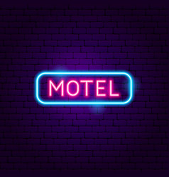 Motel neon label vector