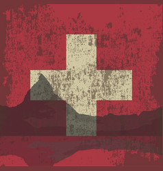 mountains of switzerland and the state flag vector image