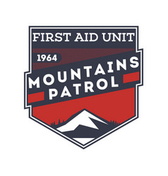 mountains patrol first aid unit label vector image