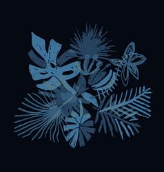 Neon tropical flower composition black background vector