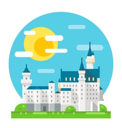 Neuschwanstein castle flat design landmark vector image