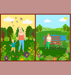 people leisure in park flowers and trees vector image