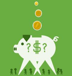 Piggy bank striding cartoon vector