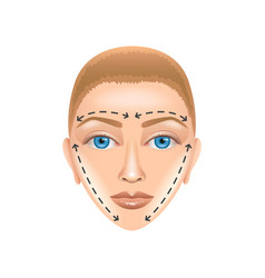 Plastic surgery face isolated on white vector image