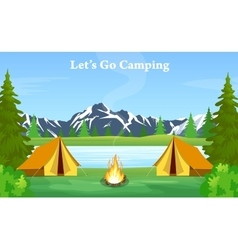 poster showing campsite with a campfire vector image