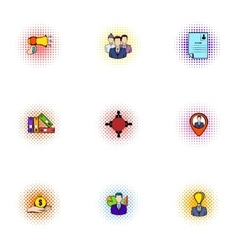 Promotion icons set pop-art style vector
