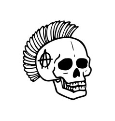 Punk rock collection human skull with mohawk vector