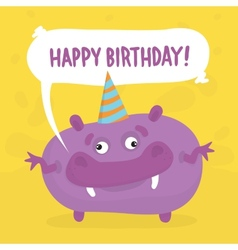 Purple birthday monster vector