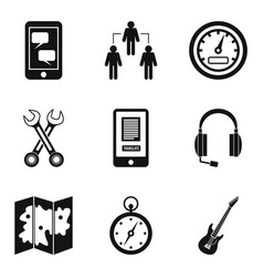 Radio exchange icons set simple style vector