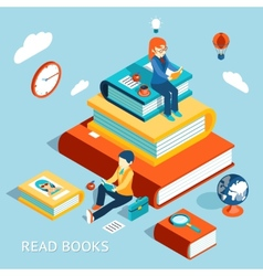 Read books concept vector