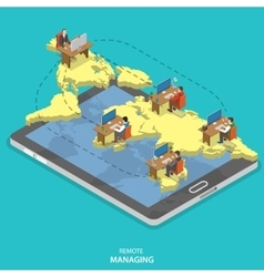 Remote managing isometric flat concept vector