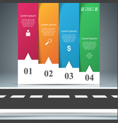 road paper business infographic four paper items vector image