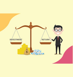 Roi return on investment scale with money and vector