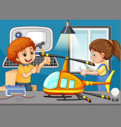 Scene with children repairing toy helicopter vector