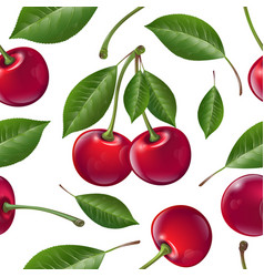 Seamless pattern red ripe cherries with leaves vector
