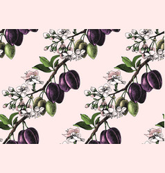 Seamless pattern with hand drawn plum branches vector
