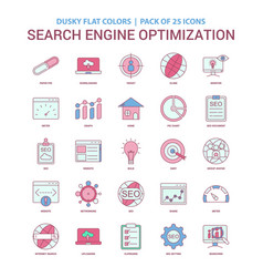 Search engine optimization icon dusky flat color vector