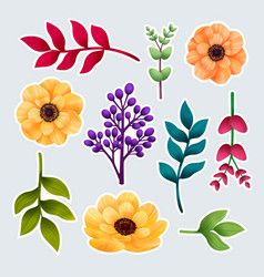 set botanic stickers garden and wild vector image