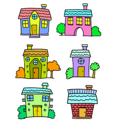 Set of house colorful set art vector