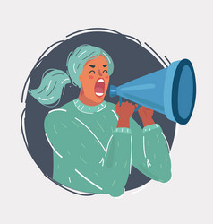 shout woman with megaphone vector image