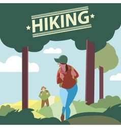 Silhouettes of tourists hiking vector image vector image