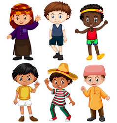 Six boys from different countries vector