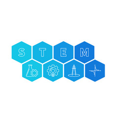 stem - science and math hexagonal vector image