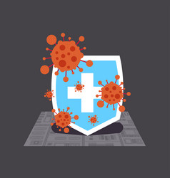 Stop coronavirus concept medical shield fighting vector