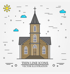 Thin line icon church vector