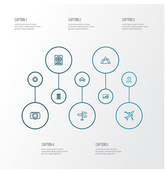 Traveling outline icons set collection of sunny vector