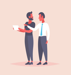 two businessmen meeting discussion using tablet vector image