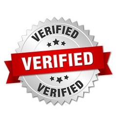 verified 3d silver badge with red ribbon vector image