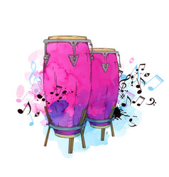 watercolor background with drums vector image