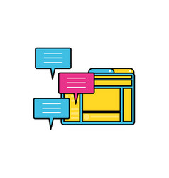 Webpage template media and speech bubbles vector