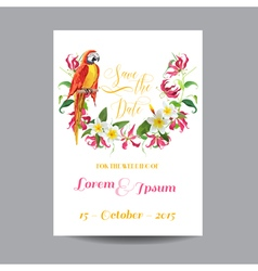 Wedding Card Tropical Flowers and Parrot Bird vector image