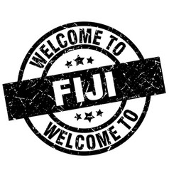 Welcome to fiji black stamp vector