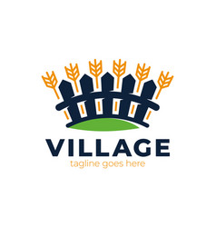wheat and fence village logo perfect for farm vector image