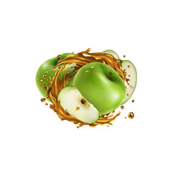 Whole and sliced green apples in a juice splash vector
