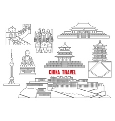 China landmarks thin line icons vector image vector image