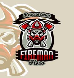 colorful logo emblem sticker fireman and vector image vector image