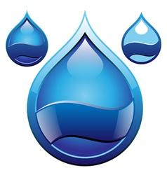 drop glass badge vector image