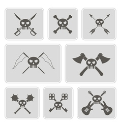monochrome icons with skulls vector image vector image