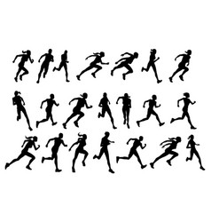 runners running silhouettes vector image