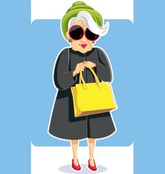 Senior fashion lady holding purse vector