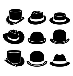 vintage hats icons vector image