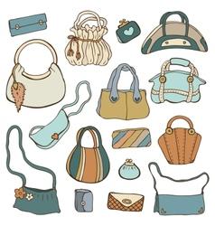 Womens handbags hand drawn set vector