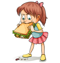 A young girl with a sandwich vector image