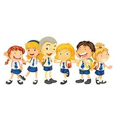 Boys and girls in school uniform vector image