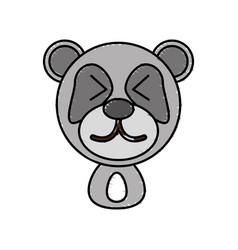 drawing panda face animal vector image vector image